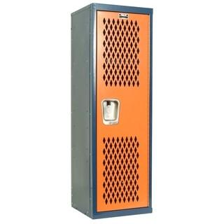 "Hallowell Home Team Locker, 15""W x 15""D x 48""H, Dark Blue Body / Orange Door, Single Tier, 1-Wide, Knock-Down"