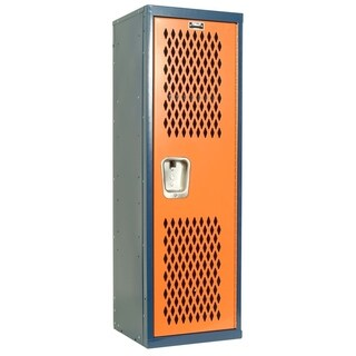 "Hallowell Home Team Locker, 15""W x 15""D x 48""H, Dark Blue Body / Orange Door, Single Tier, 1-Wide, Knock-Down"