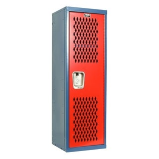 "Hallowell Home Team Locker, 15""W x 15""D x 48""H, Blue Body / Red Door, Single Tier, 1-Wide, Knock-Down"