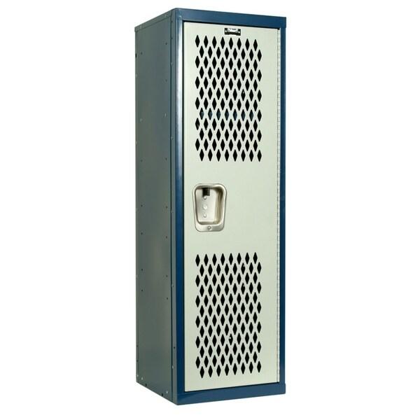 "Hallowell Home Team Locker, 15""W x 15""D x 48""H, Dark Blue Body / Light Gray Door, Single Tier, 1-Wide, Knock-Down"