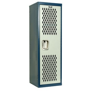 "Hallowell Home Team Locker, 15""W x 15""D x 48""H, Dark Blue Body / Light Gray Door, Single Tier, 1-Wide, Knock-Down"