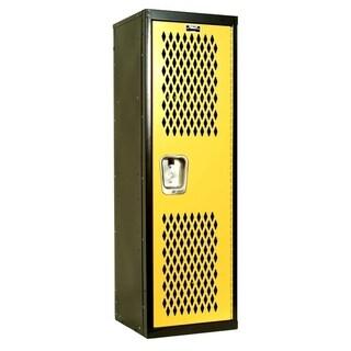 "Hallowell Home Team Locker, 15""W x 15""D x 48""H, Black Body / Yellow Door, Single Tier, 1-Wide, Knock-Down"
