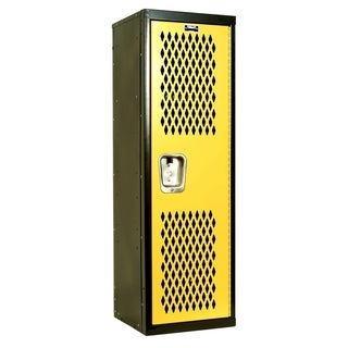 "Hallowell Home Team Locker, 15""W x 15""D x 48""H, Black Body / Yellow Door, Single Tier, 1-Wide, Knock-Down"