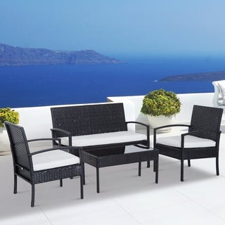 Outsunny 4-piece Brown Rattan Wicker Outdoor Patio Armchair and Loveseat Conversation Set