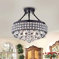 Rashawn Antique Bronze 4-Light Semi-flush Mount with Crystal Shade
