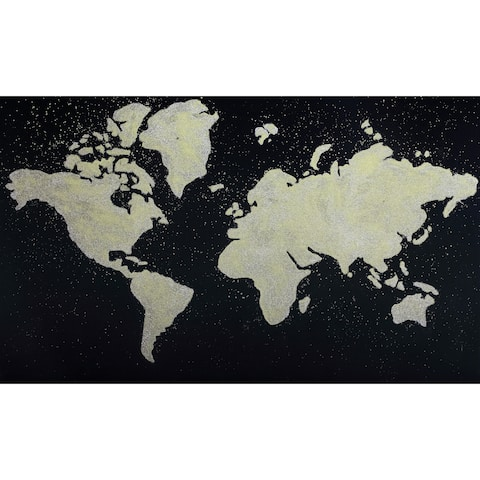 Wordly Earth Contemporary Modern Painting Wall Décor - Black/Grey/Multi-color