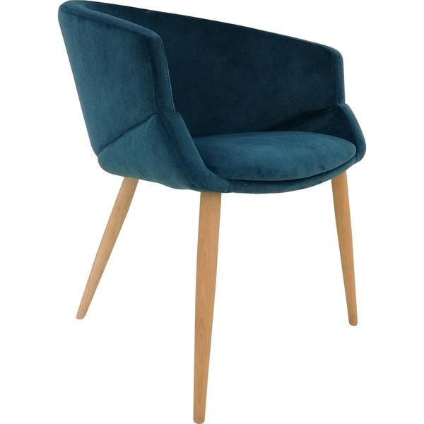 Aurelle Home Bella Blue Velvet Dining Chair