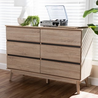 Mid-Century Oak and Dark Grey 6-Drawer Dresser by Baxton Studio