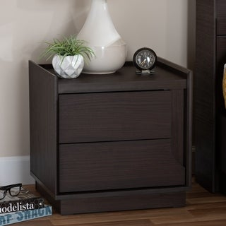 Contemporary Brown Finished 2-Drawer Nightstand by Baxton Studio