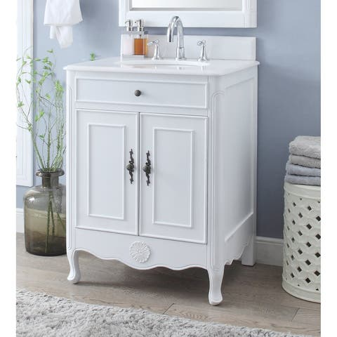 26 Benton Collection Daleville Antique White Bathroom Sink Vanity