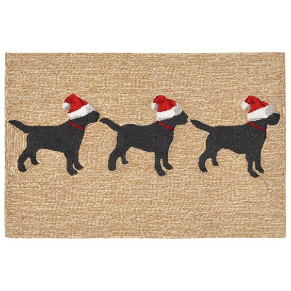 Dog Friendly Outdoor Rug: Shop Liora Manne Frontporch 3 Dogs Christmas Indoor