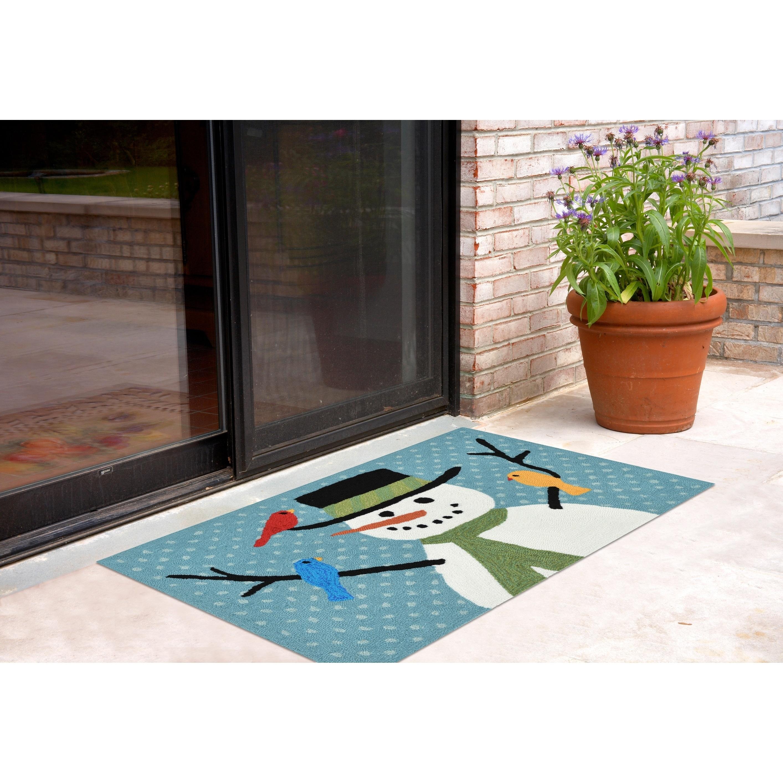 Details About Liora Manne Frontporch Snowman And Friends Indoor Outdoor Rug Blue 30 X48