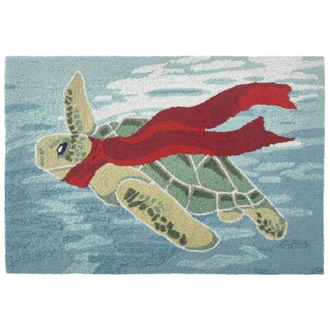 "Liora Manne Frontporch Turtle Season Indoor/Outdoor Rug Ocean 30""X48"""