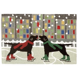 "Liora Manne Frontporch Holiday Ice Dogs Indoor/Outdoor Rug Multi 24""X36"""