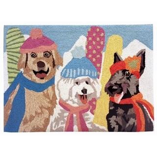"""Liora Manne Frontporch Ski Bunnies Indoor/Outdoor Rug Multi 24""""X36"""""""