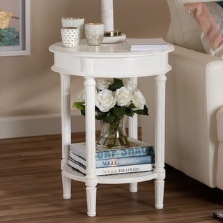 Country Cottage White End Table by Baxton Studio