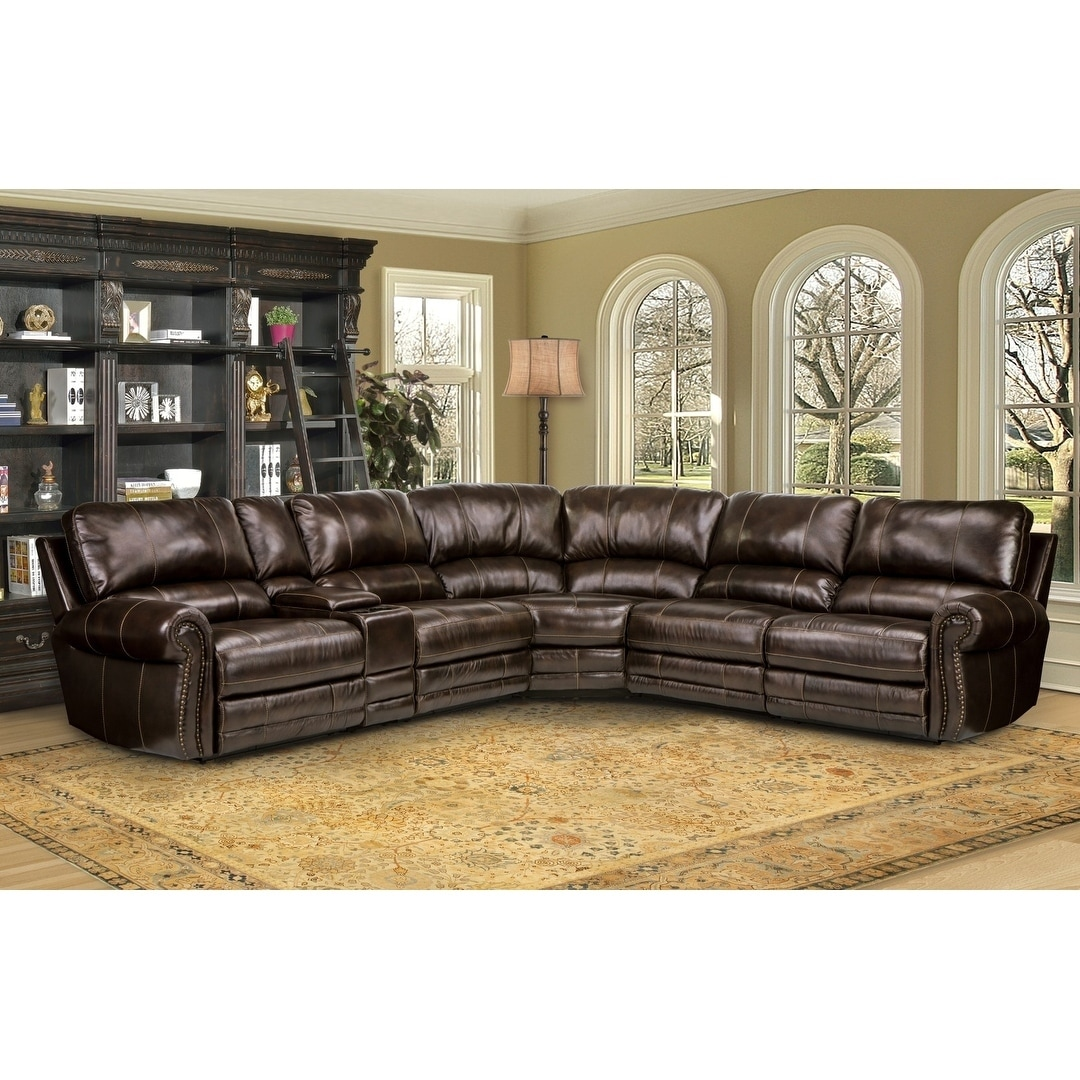 Picture of: Hartford Brown Top Grain Leather Power Reclining Sectional Sofa Overstock 22292549