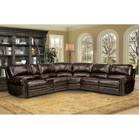 Hartford Brown Top Grain Leather Power Reclining Sectional Sofa