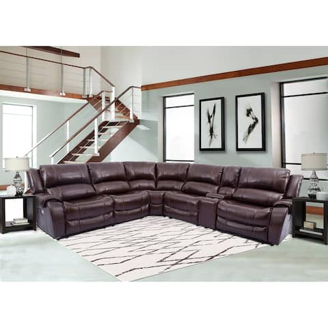 Granville Top Grain Leather Power Reclining Sectional Sofa