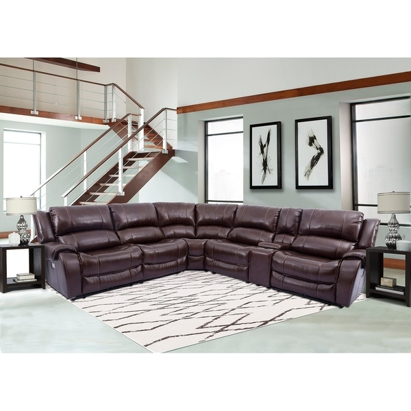 Shop Granville Top Grain Leather Power Reclining Sectional Sofa ...