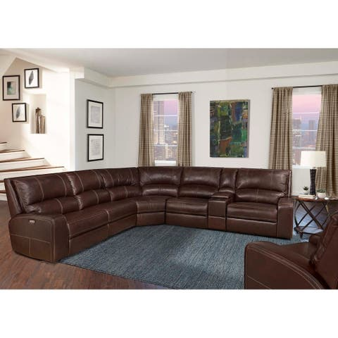 Symon Russet Top Grain Leather Power Reclining Sectional Sofa