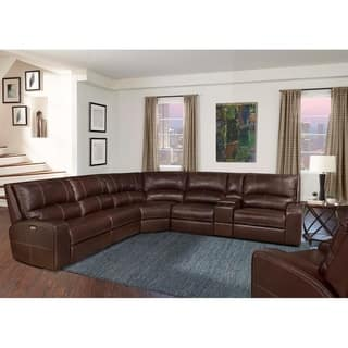 Symon Russet Top Grain Leather Reclining Sectional Sofa