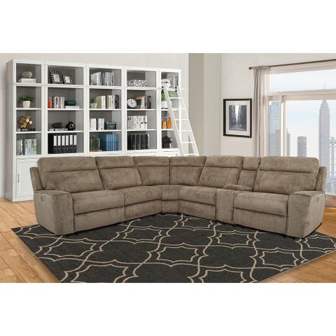 Lester Taupe Power Reclining Sectional Sofa