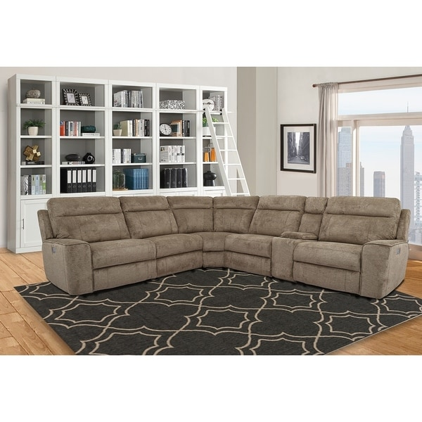 premium selection 3a6f0 9653a Lester Taupe Power Reclining Sectional Sofa