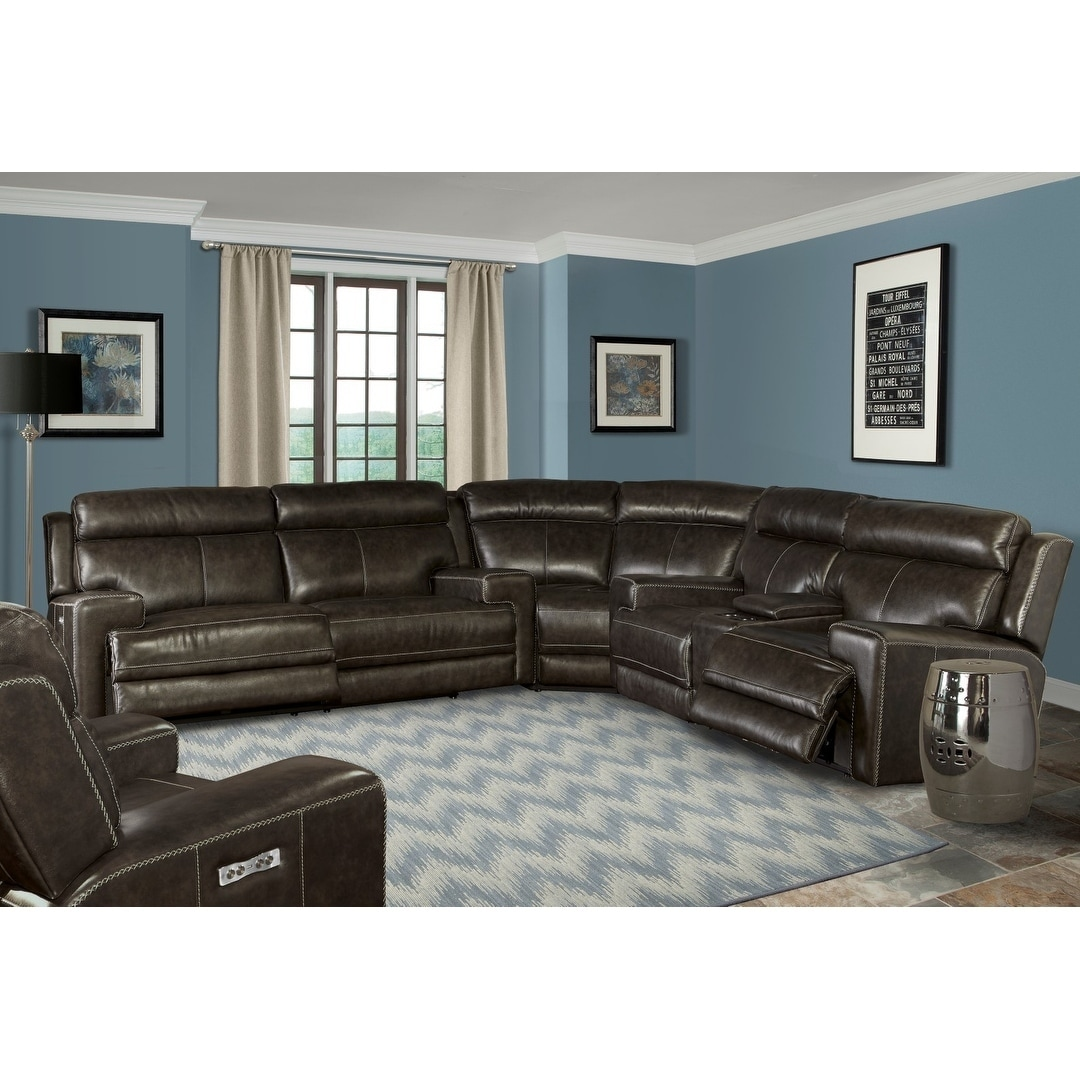 Awesome Henderson Top Grain Leather Power Reclining Sectional Sofa Machost Co Dining Chair Design Ideas Machostcouk