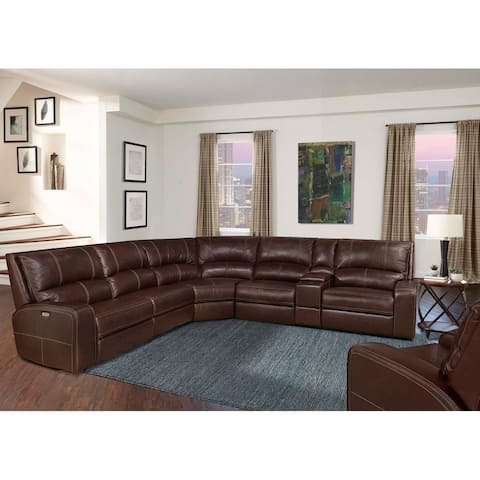 Symon Russet Top Grain Leather Power Reclining Sectional and Arm Chair Set