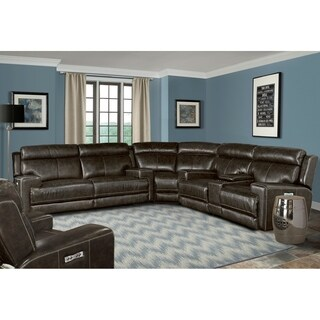 Henderson Top Grain Leather Power Reclining Sectional and Arm Chair Set