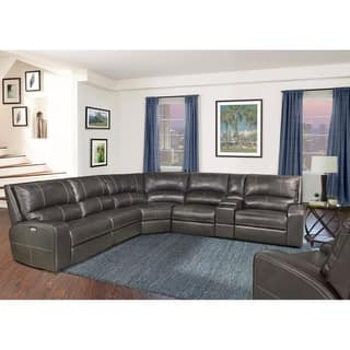 Shop Henderson Top Grain Leather Power Reclining Sectional Sofa