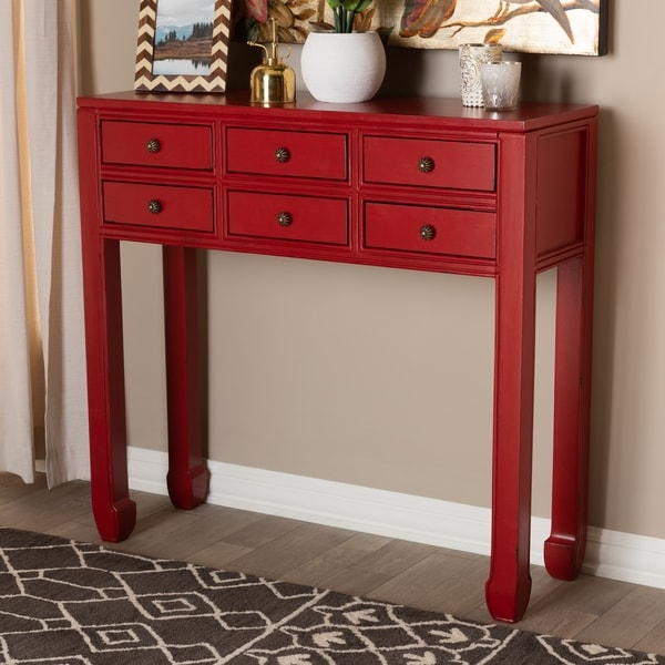 Antique Red 6 Drawer Console Table By Baxton Studio