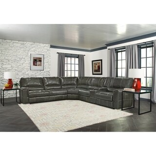 Hollis Top Grain Leather Power Reclining Sectional and Arm Chair Set
