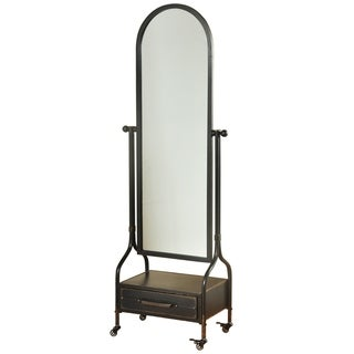 Cheval Mirror with Lower Storage Blackened Grey Drawer