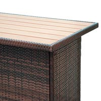 Outsunny 3 Piece Wicker Bar Set Outdoor Patio Rattan Furniture Set Garden Deck