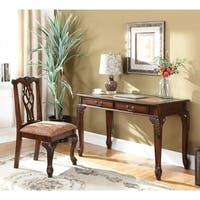 Traditional Golden Brown Desk and Chair Set with Map Desk Top