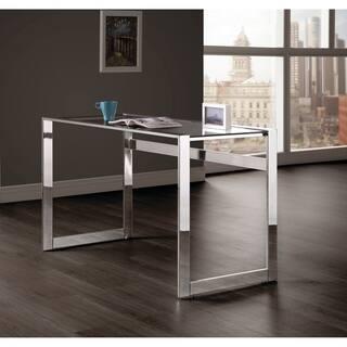 Contemporary Chrome And Gl Top Writing Desk