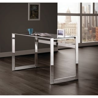 Ordinaire Silver Orchid Ipsen Modern Chrome And Glass Top Writing Desk