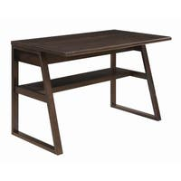 Transitional Chestnut Writing Desk with Power Outlet