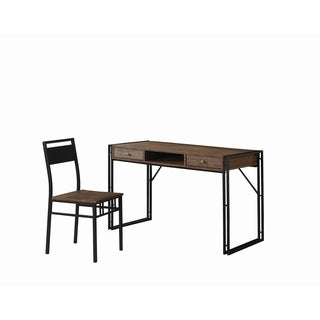 Rustic Weathered Chestnut Desk and Chair Set