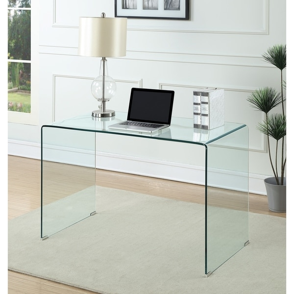 shop contemporary clear glass writing desk free shipping today rh overstock com glass writing desk with drawers glass writing desk canada