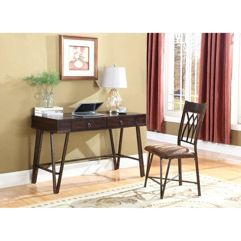 Industrial Brushed Pecan Desk and Chair Set