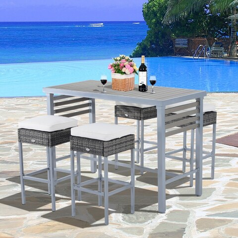 Outsunny Steel 5 Piece Patio Rattan Wicker Dining Table Chairs Conversation Set - Grey / Cream White