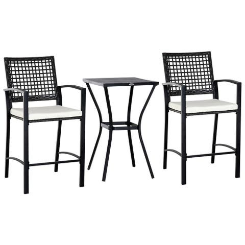 Outsunny 3 Piece Outdoor Patio Rattan Wicker Bistro Furniture Set with Classic Bar Style Seating