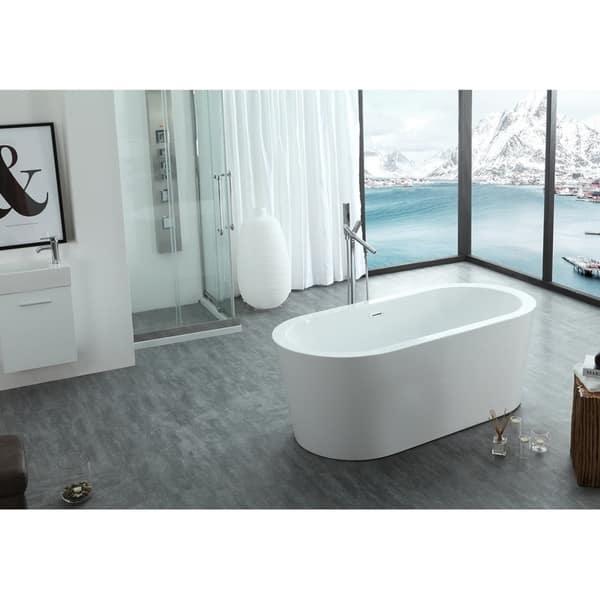 Dionysus 60 X 30 Freestanding Acrylic Bathtub Overstock 22300631 Black