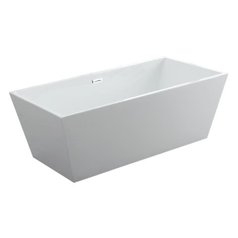 "Athena 63"" x 30"" Freestanding Acrylic Bathtub - White"
