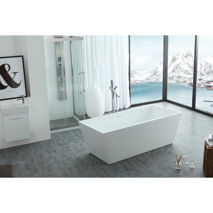 Athena 67 X 32 Freestanding Acrylic Bathtub White Overstock 22300640