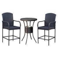 Outsunny 3 Piece Outdoor Patio Rattan Wicker Bar Stool Bistro Set with Ice Buckets