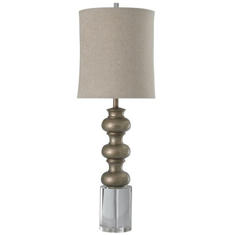 Harp & Finial Loxley Antique Silver Table Lamp - Crystal Base